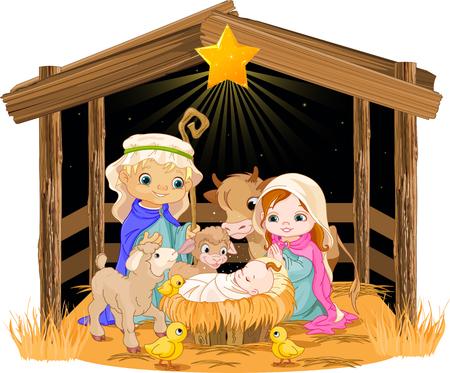 familia orando: Pesebre de Navidad con la familia santa