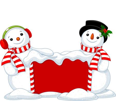 Two cute Snowmen near snowbound Christmas board  Illustration