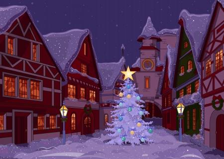 row of houses: Calle Ciudad de la Navidad en la noche Vectores