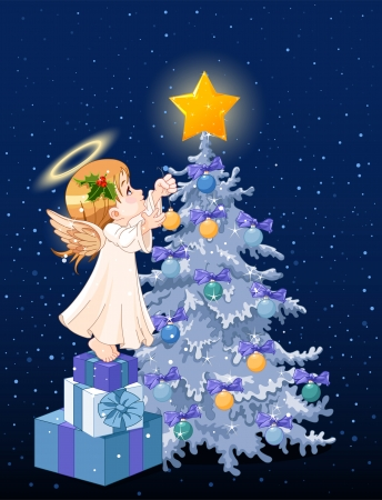 Christmas Angel decorating Christmas tree Vector
