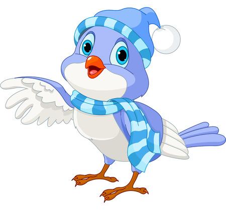 hi hat:  Cartoon  illustration of a cute winter talking bird
