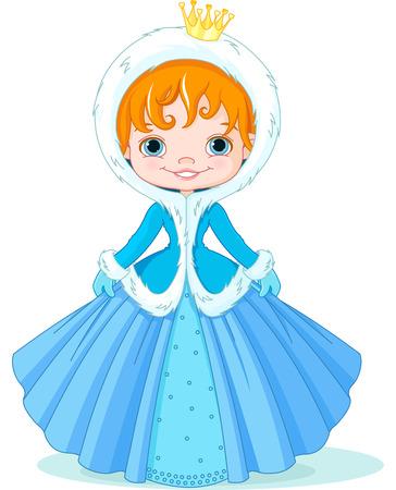 Illustration of cute little winter princess  Vector