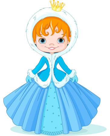 winter: Illustration of cute little winter princess