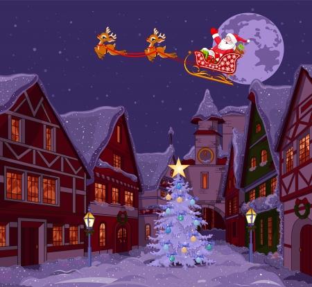 Babbo Natale battenti la sua slitta sopra la città di Natale Archivio Fotografico - 24155182