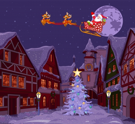sleds: Santa Claus flying his sleigh over Christmas town