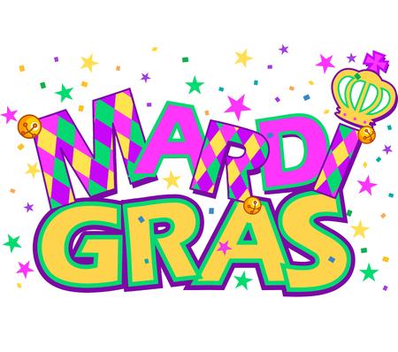 parade confetti: Mardi Gras tipo de tratamiento con la corona