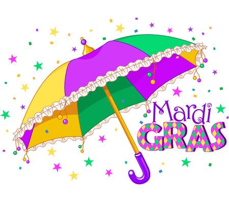 parade confetti: Mardi Gras tipo de tratamiento con paraguas de colores