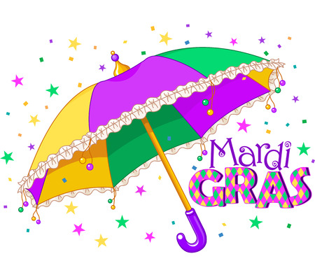 parade: Mardi Gras type treatment with colorful umbrella