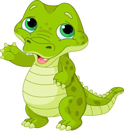 retratos: Ilustraci�n de muy lindo cocodrilo beb� Vectores