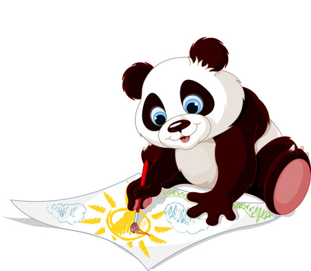 Illustration of cute panda drawing picture 向量圖像