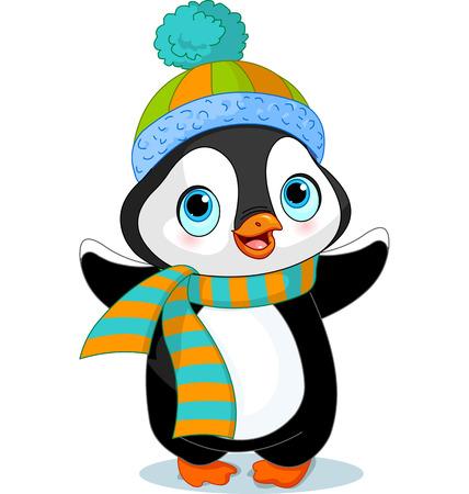 Pingouin mignon d'hiver avec chapeau et foulard Vecteurs
