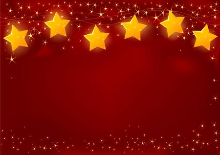 빛나는 갈 랜드와 빨간 크리스마스 카드