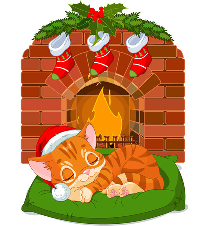 Cute little kitten with Santa's Hat sleeping near Fireplace