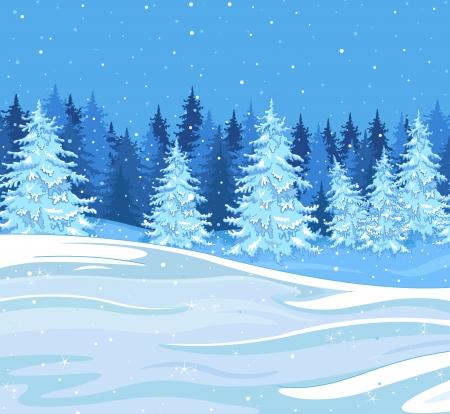 Snowfall over a fir tree forest