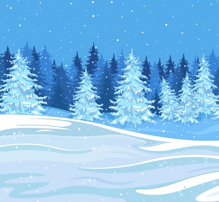 Snowfall over a fir tree forest Vector