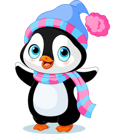 Cute winter penguin with hat and scarf  Ilustracja