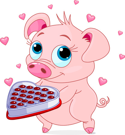 Cute little piglet holding a heart shape valentine box of chocolates Vector