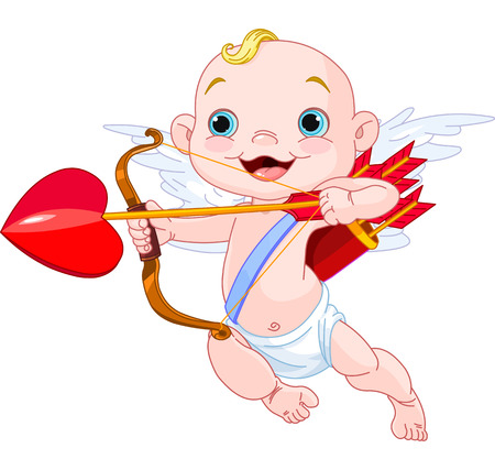 Valentines Day Cupid ready to shoot his arrow Vector