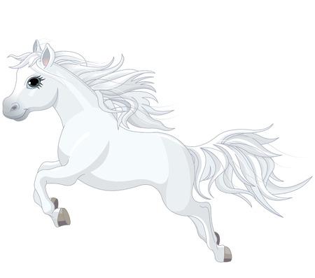 pony tail: Illustration of running beautiful white horse