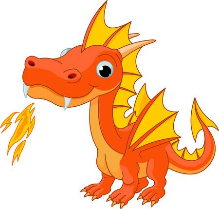 dragon rouge: Illustration de mignon dragon de feu de bande dessin�e