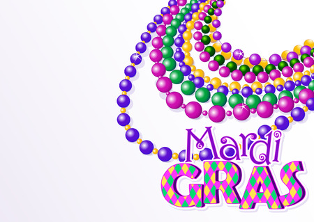 colorful beads: Mardi Gras beads background with place for text