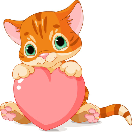 Cute little kitten holding Love Heart