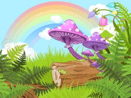 fairy cartoon:  Fantasy landscape with mushrooms and flowers