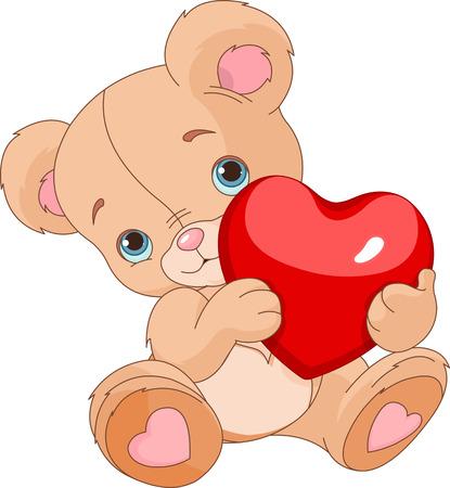 ourson: Valentines Ours en peluche tenant coeur d'amour Illustration