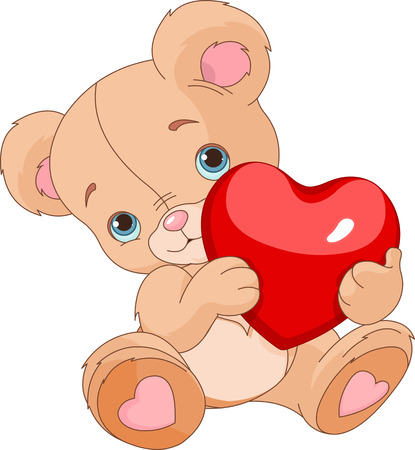 cute graphic:  Valentines Teddy Bear holding love heart