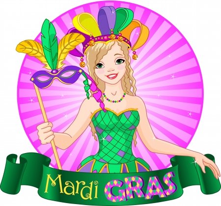carnival costume: Mardi Gras Design of beautiful girl holding mask