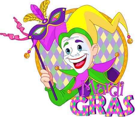 Cartoon design of Mardi Gras Jester holding a mask Vector