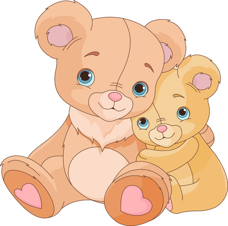 Cute pair of hugging bears   Vector