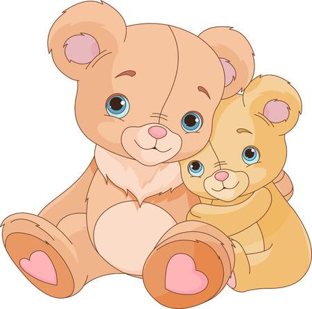 cachorro: Lindo par de abrazos osos Vectores