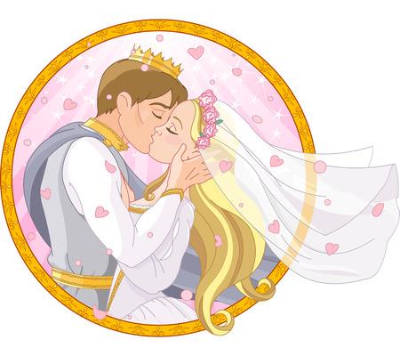Romantische bruiloft van koninklijk paar Stock Illustratie