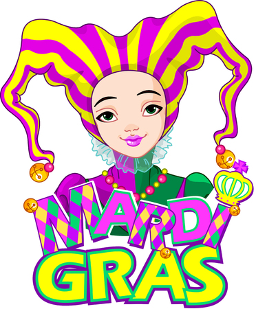 Mardi Gras harlequin lady design Vector