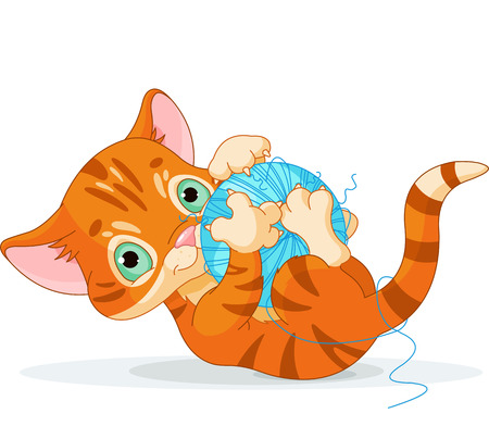 kitten cartoon:  Tubby kitten playing with a ball of yarn