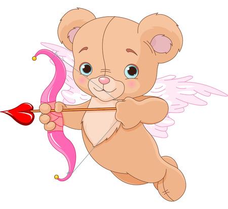 Valentine cupid bear ready to shoot his arrow
