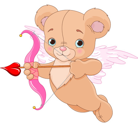 Valentine cupid bear ready to shoot his arrow Vector