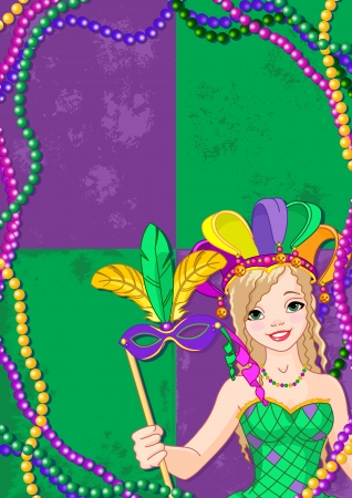 carnival costume:  Mardi Gras Banner with beautiful girl holding mask