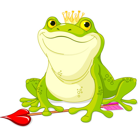 frog prince:  Frog Prince waiting to be kissed Illustration