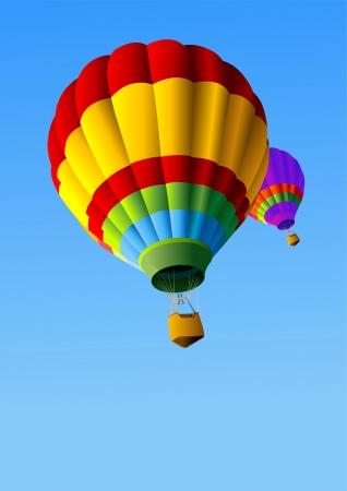 カラフルな熱気球のフライトで