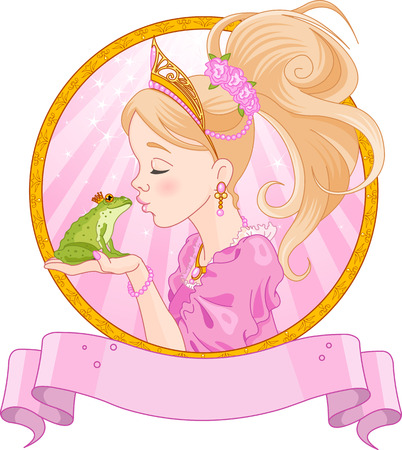 Fairytale Princess kissing a frog Vector