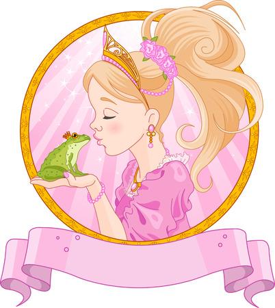 principe: Principessa Fairytale baciare una rana Vettoriali