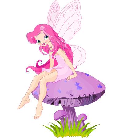 핑크 요정 요정 버섯에 앉아