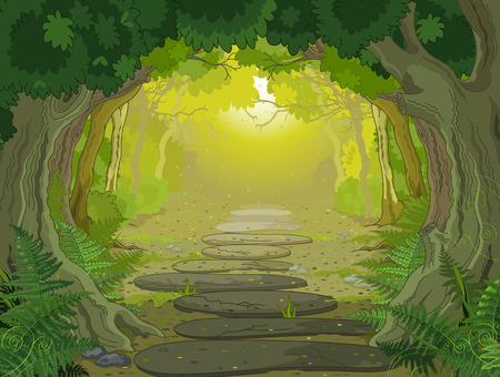 jungle cartoon: Paisaje del bosque m�gico, con �rboles y helechos