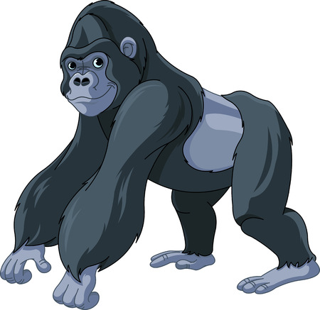 Illustration of cute cartoon gorilla Illusztráció