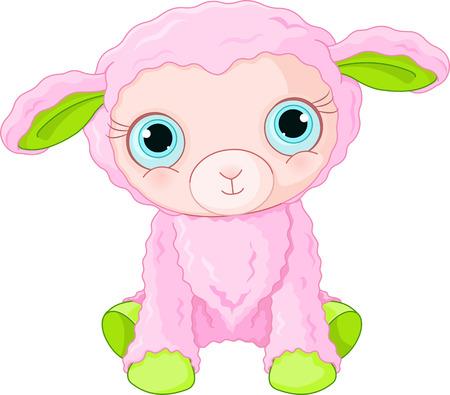 ovejitas: Ilustración del carácter lindo cordero Vectores