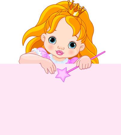 Illustration of little princess over blank sign