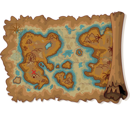 island clipart: Illustration of pirate scroll map  Illustration