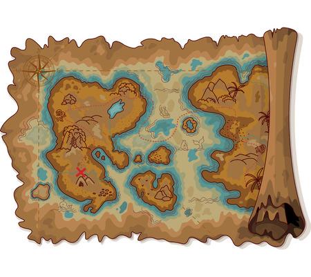 isla del tesoro: Ilustración del mapa de desplazamiento pirata